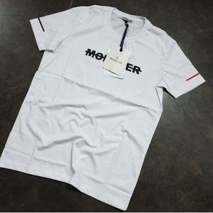 MONCLER T-SHIRT  COLOR WHITE %100 COTTON CREW NECK